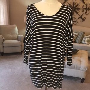 black and cream stripe with high/low detail